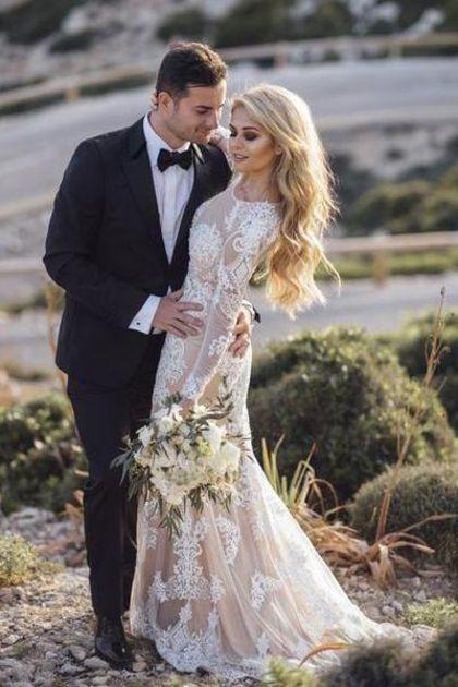 Langarm Rundhals Spitze Applique Brautkleider Vintage Meerjungfrau Hochzeitskleid € 226.17 SAPEEYBL3P – SchickeAbendKleider.de