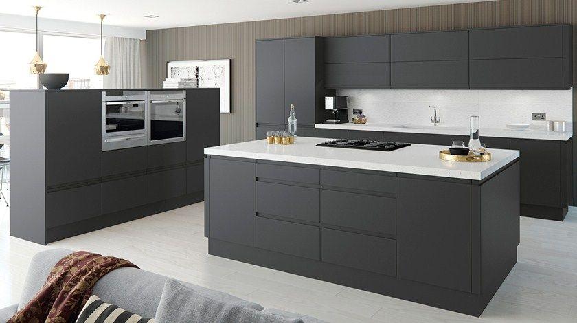 Horizon Anthracite Kitchen Fitted Kitchens From Betta Living Handleless Kitchen Contemporary Kitchen Open Plan Kitchen Living Room