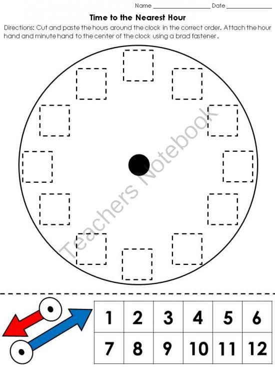 time clock cut and paste activity telling time to the nearest hour from king virtue on. Black Bedroom Furniture Sets. Home Design Ideas