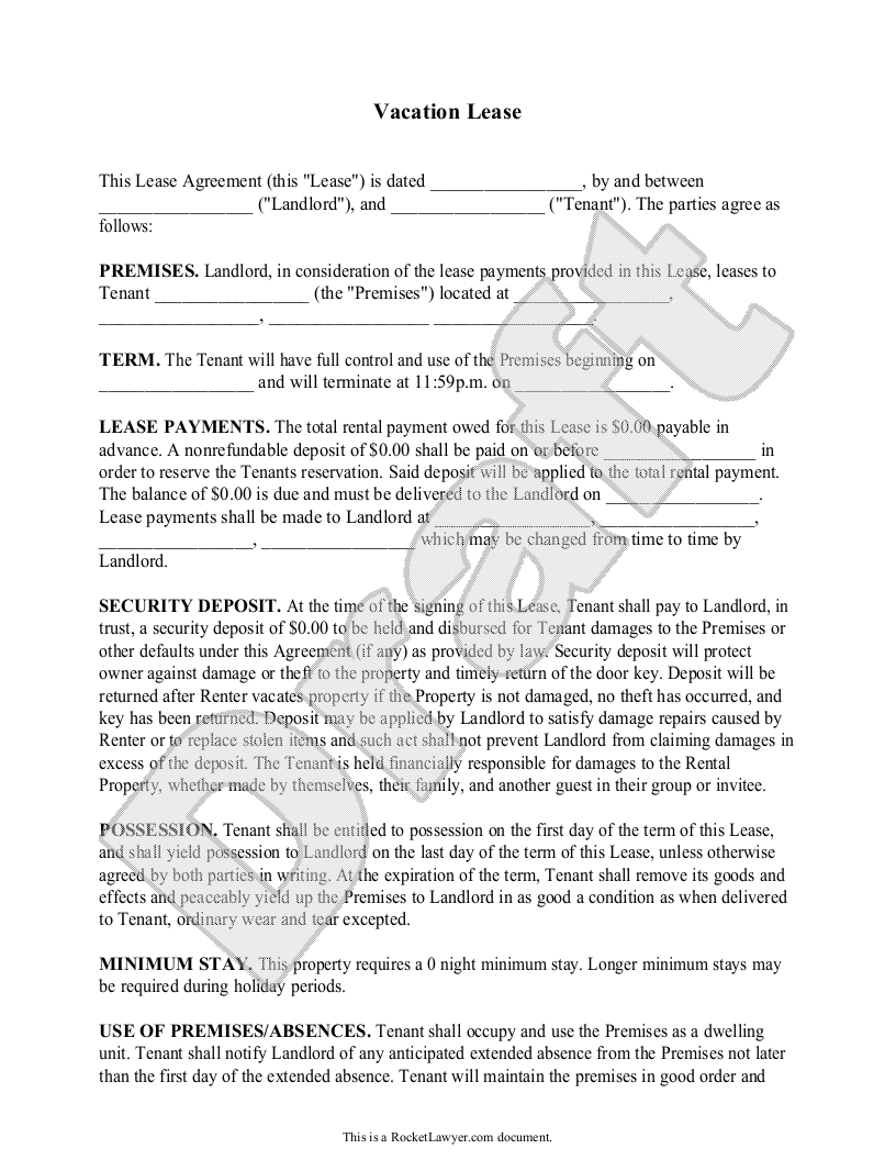 Vacation Rental Agreement Contract Vacation Lease Template