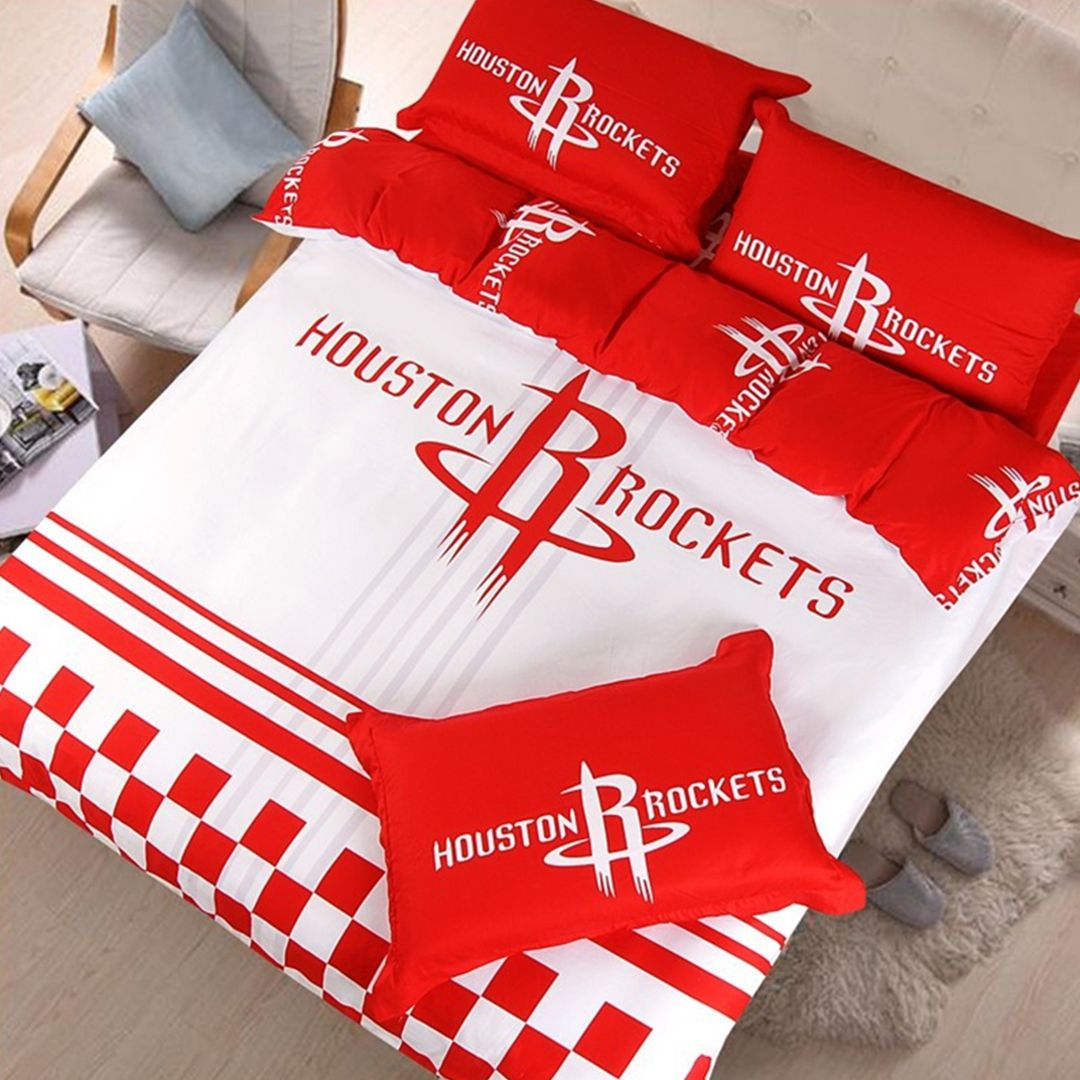 Nba Houston Rockets Bedding Set 4pcs King Queen Twin Size Bed Awesome 100 Cotton Fabric High Thickness Number Super Delicate And Agreeable