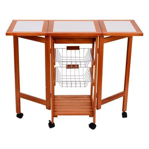 Aosom - HomCom Folding Rolling Trolley Kitchen Cart Table Island