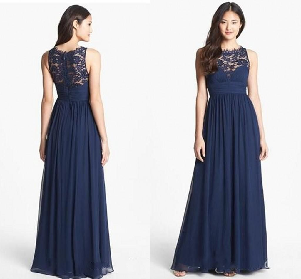 Wedding Navy Blue Lace Bridesmaid Dresses new design lace bridesmaid dresses long navy blue chiffon backless 2015 floor length empire waist jewel neckline sheer zipper back honor bridal maid