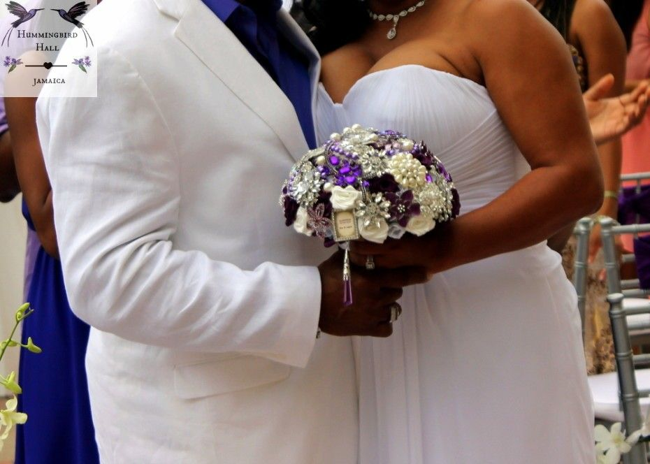 Purple Destination Wedding Jamaica Broach Bouquet By Award Winning All Inclusive Venue Hummingbird