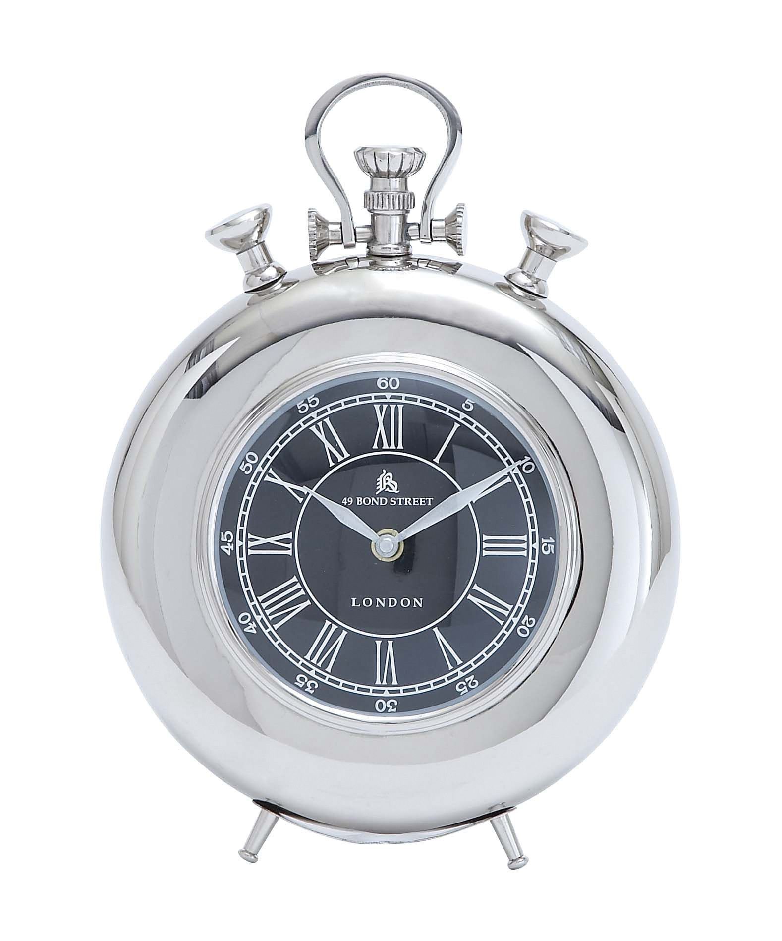 Creative clock background  Harvey u Haley Nickel Plated Table Clock with Roman Numerals