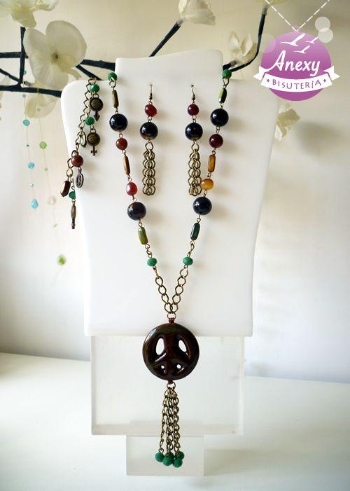 Juego hippie de piedras naturales y cer mica fina en color - Propiedades piedras naturales ...