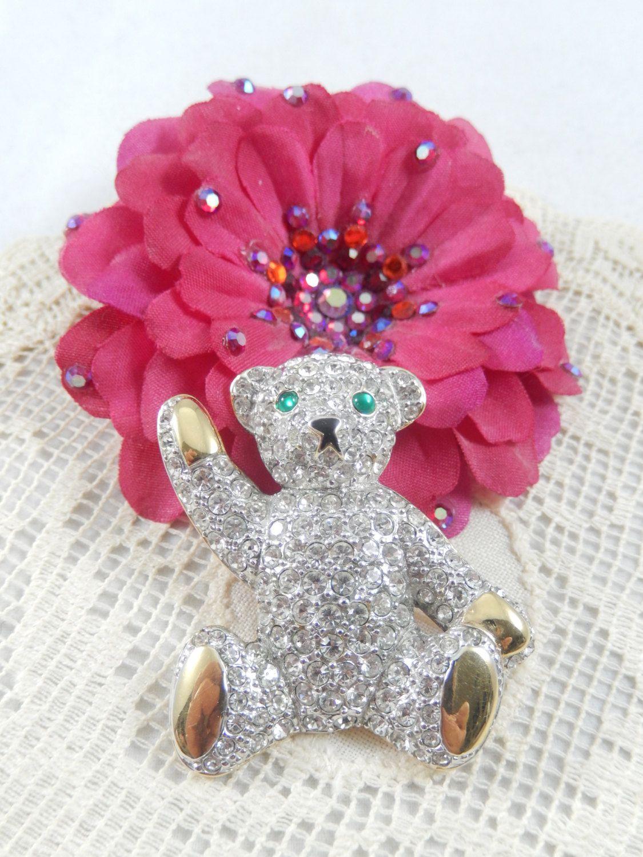 Vintage CAROLEE Signed Clear Rhinestone Teddy Bear Brooch/Pin by JudysJewelryBasket on Etsy https://www.etsy.com/listing/235334805/vintage-carolee-signed-clear-rhinestone