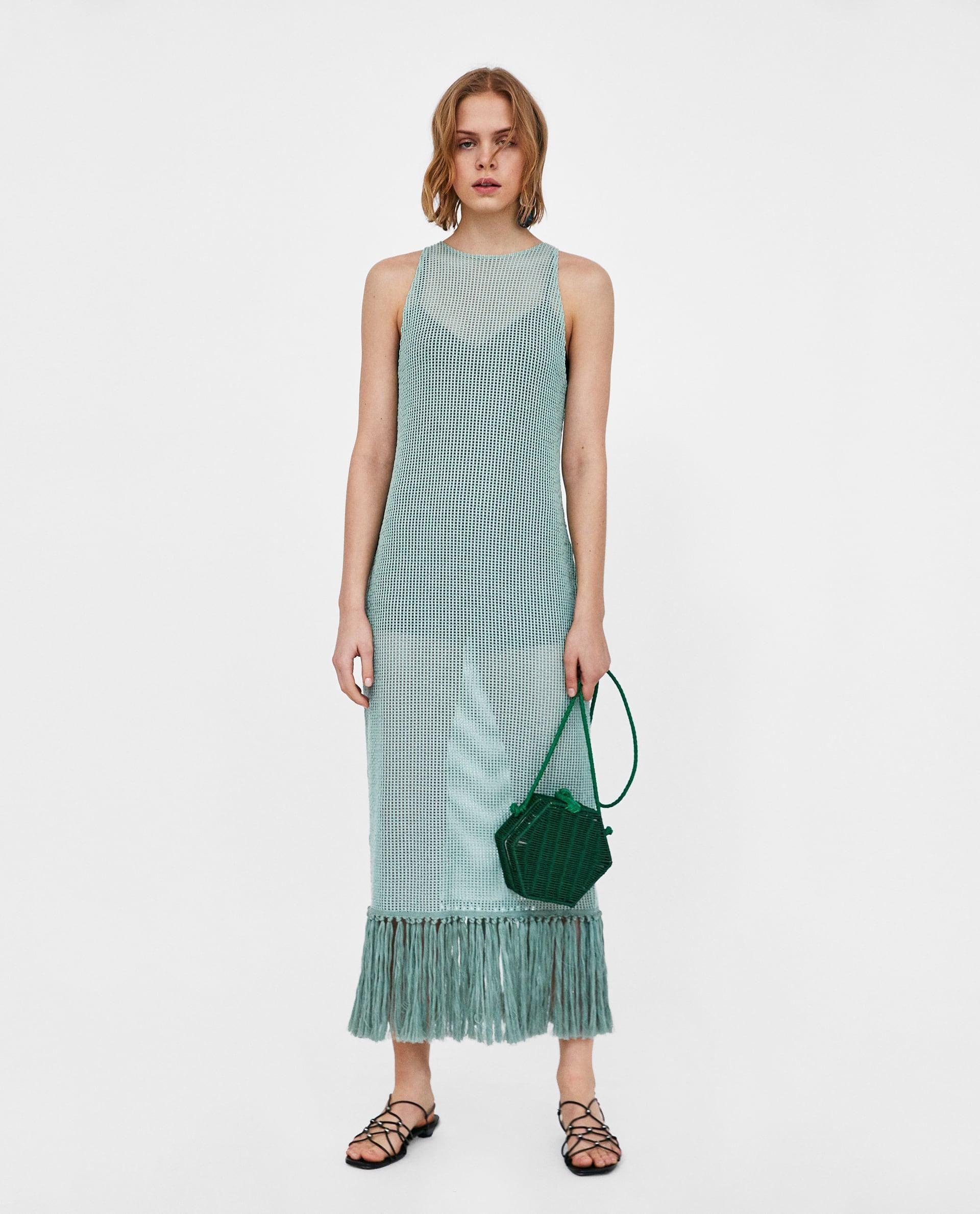 4baeff44 Mesh Dress With Fringing // 45.90 USD // Zara // Long sleeveless dress with  round neckline and matching fringing along the hem. HEIGHT OF MODEL: 178 CM  / 5′ ...