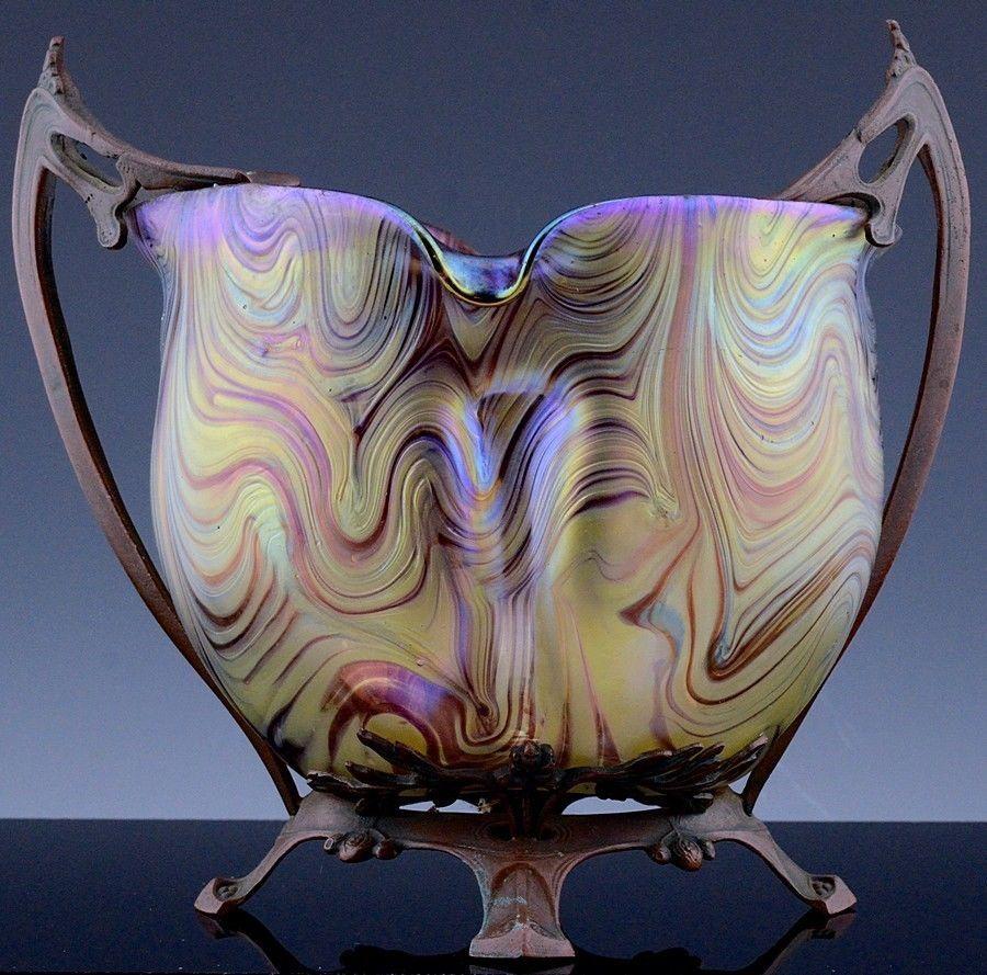 Beautful large c1900 art nouveau loetz iridescent art glass vase w beautful large c1900 art nouveau loetz iridescent art glass vase w bronze mounts reviewsmspy