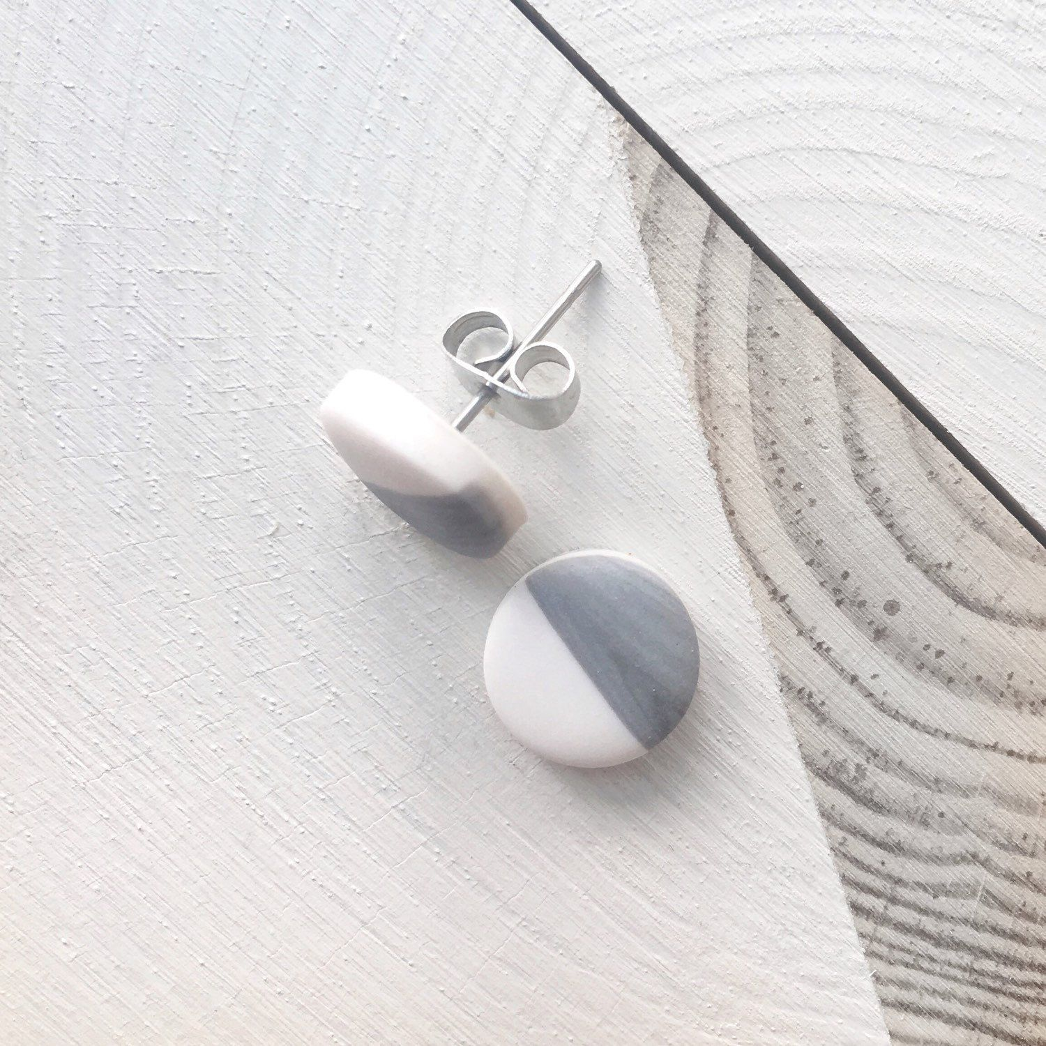 Grey and white studs clay stud earrings hypoallergenic