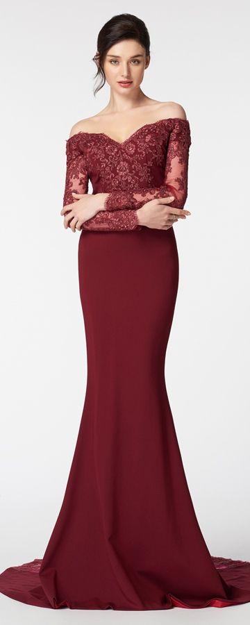 Burgundy Off the Shoulder Mermaid Prom Dress Long Sleeves | Guido ...