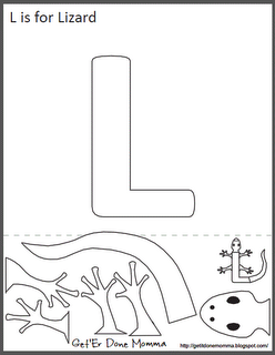 Free Animal Alphabet Crafts: L is for Lizard for a Reptile