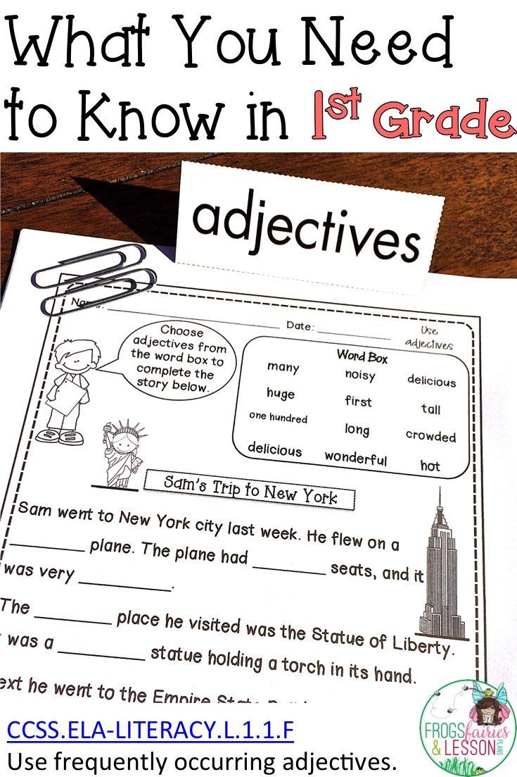 Worksheet First Grade Adjectives first grade adjectives multiple choice literacy and worksheets adjectives