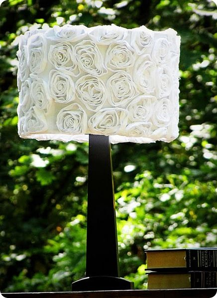 Lamp shade with flowers easy craft ideas fabric flower lampshade made from a white sheet and an old lamp aloadofball Gallery