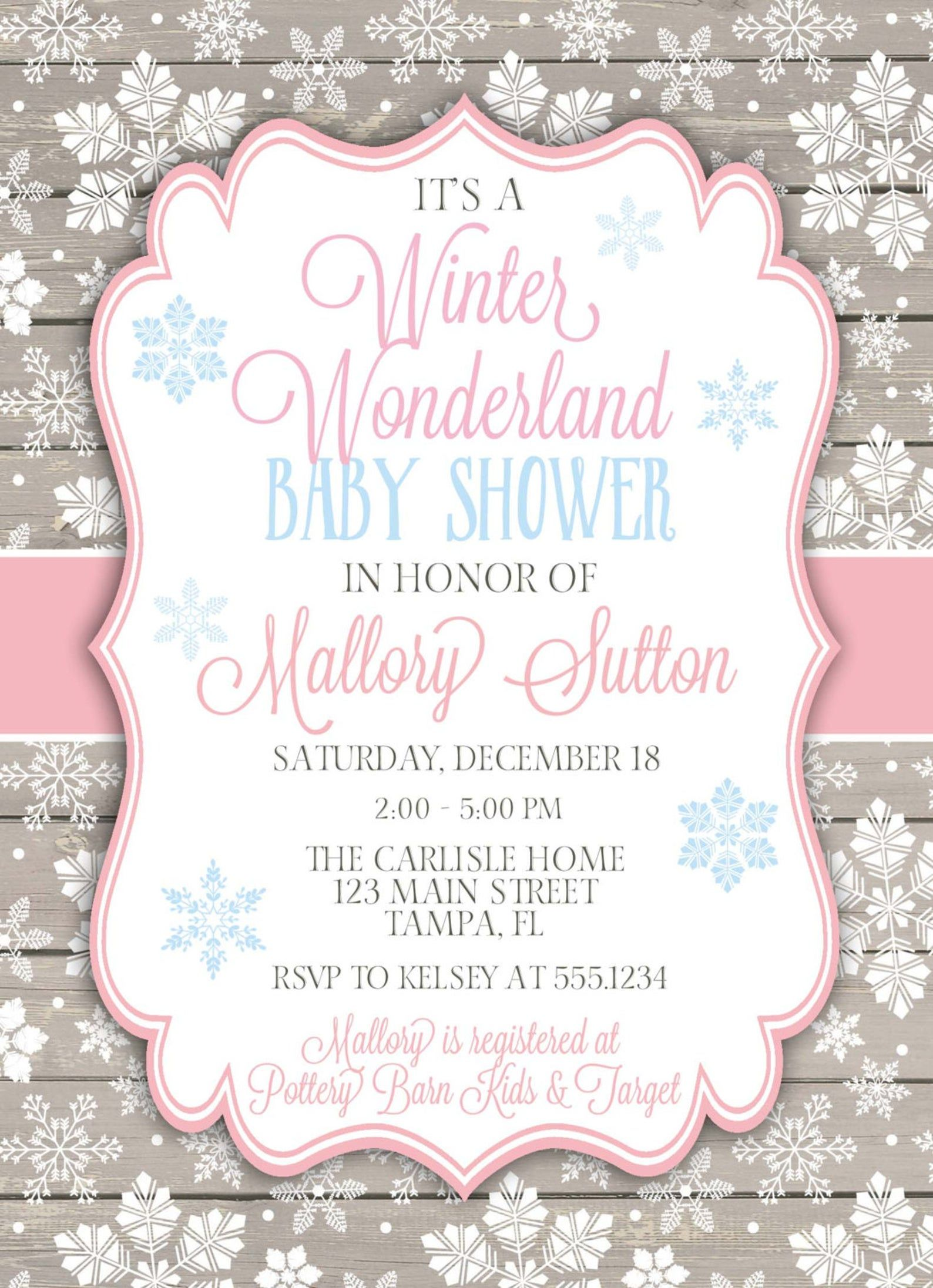 Winter Wonderland Baby Shower Invitation, Winter Baby Shower, Snowflake Baby Shower Invitation, Snowflake Invitation, DIY Printable #winterwonderlandbabyshowerideas