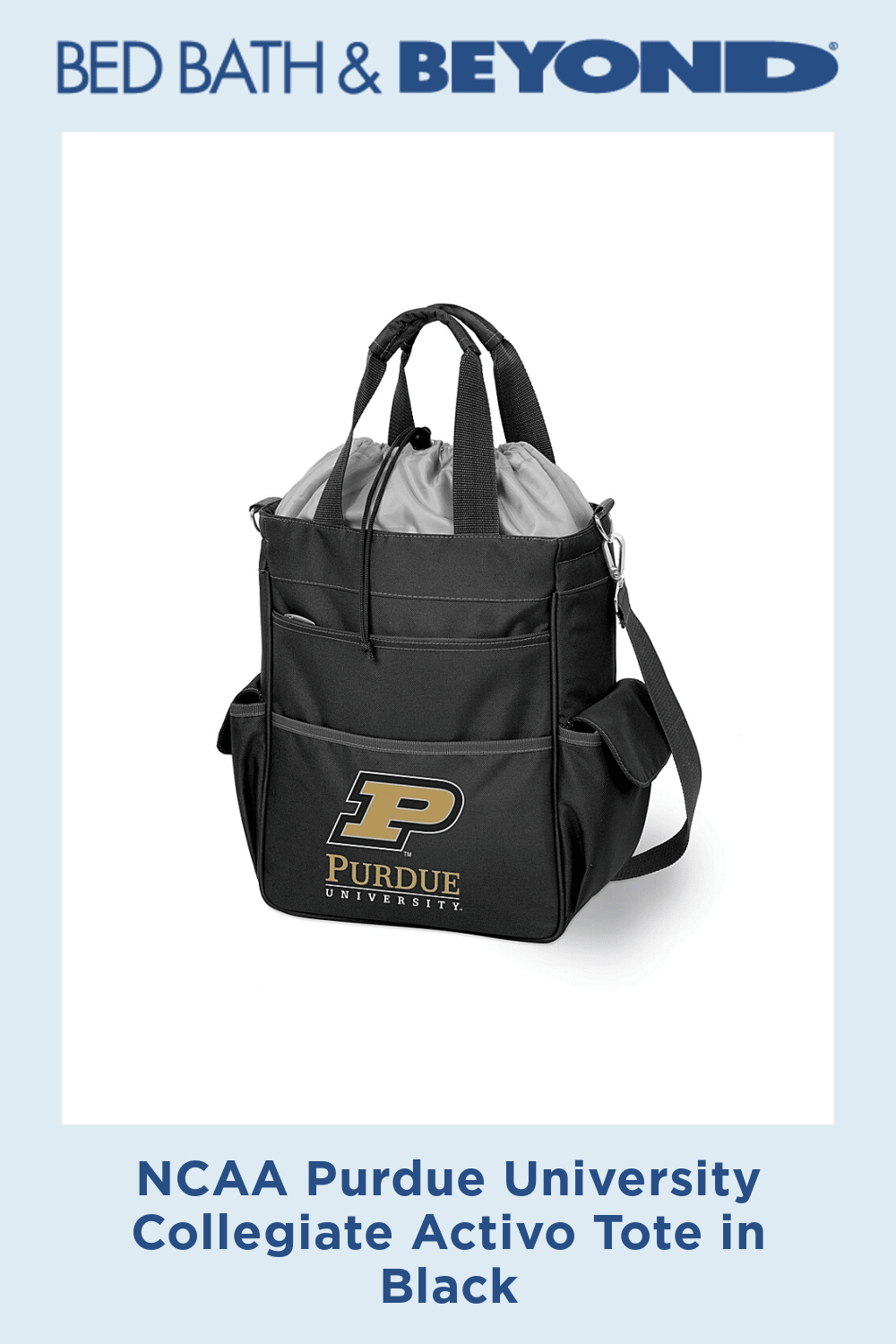 NCAA Purdue University Collegiate Activo Tote in Black - NCAA Activo Totes are waterproof and feature a fully insulated compartment to provide plenty of room for food and drinks. Activo totes are ideal for the beach, sporting events, or long trips in the car.