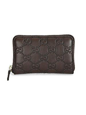 edd1779a9d6 Gucci Guccissima Leather Zip-Around Card Case