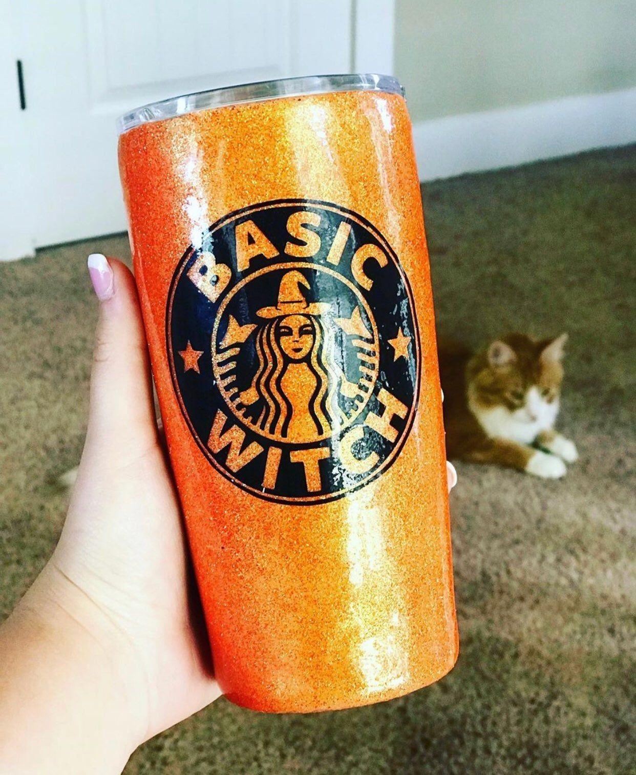 Custom Starbucks Halloween Glitter Tumbler 20oz. Not yeti
