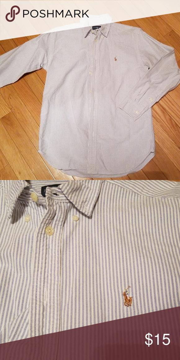 Ralph Lauren Polo dress shirt Long sleeve, blue and white