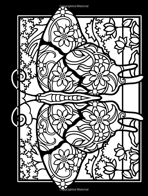 Amazon com fanciful butterflies stained glass coloring book dover nature stained glass coloring
