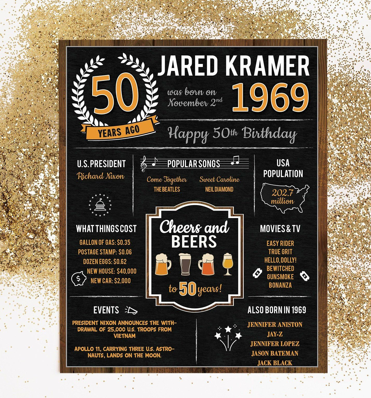 50th Birthday Vintage Dude Poster Back in 1969 Birthday Gift 50 Years Ago Decade Poster Printed Poster OR Printable Milestone Birthday