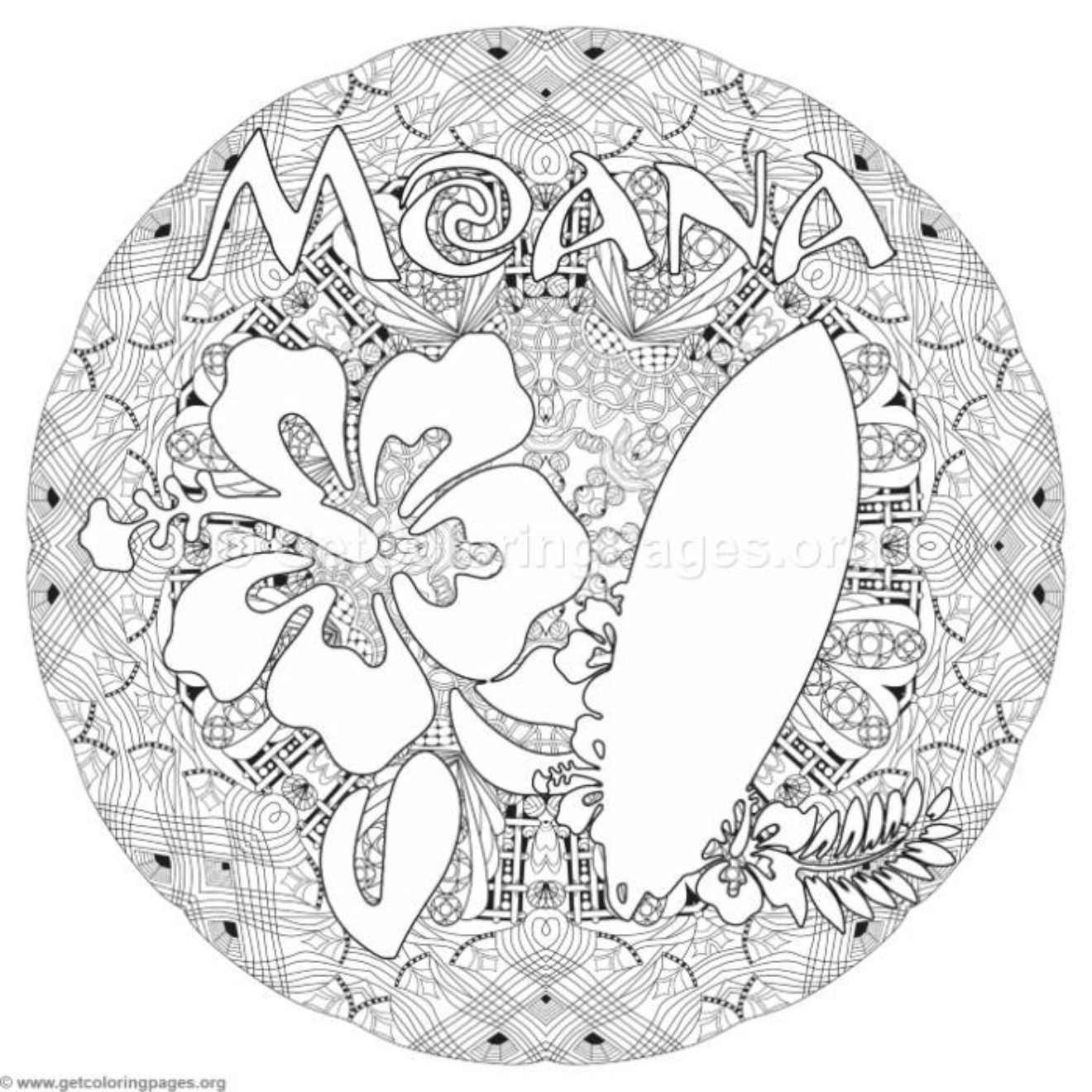 Moana Flower And Surfboard Coloring Pages Getcoloringpages Org Coloring Pages Moana Coloring Pages Flower Drawing