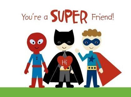 Super Friends - Valentine's Day Cards for Kids in Firecracker | Ann Kelle