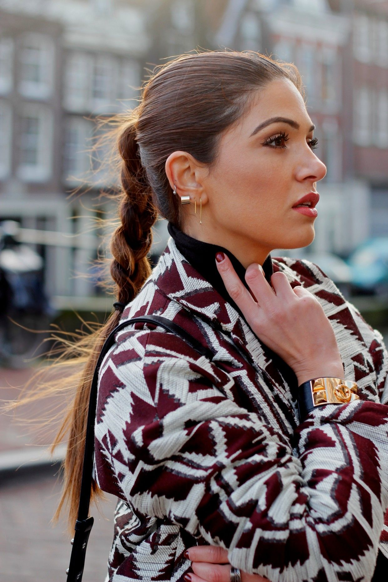 Maroon Printed Coat and a Braid | Negin Mirsalehi