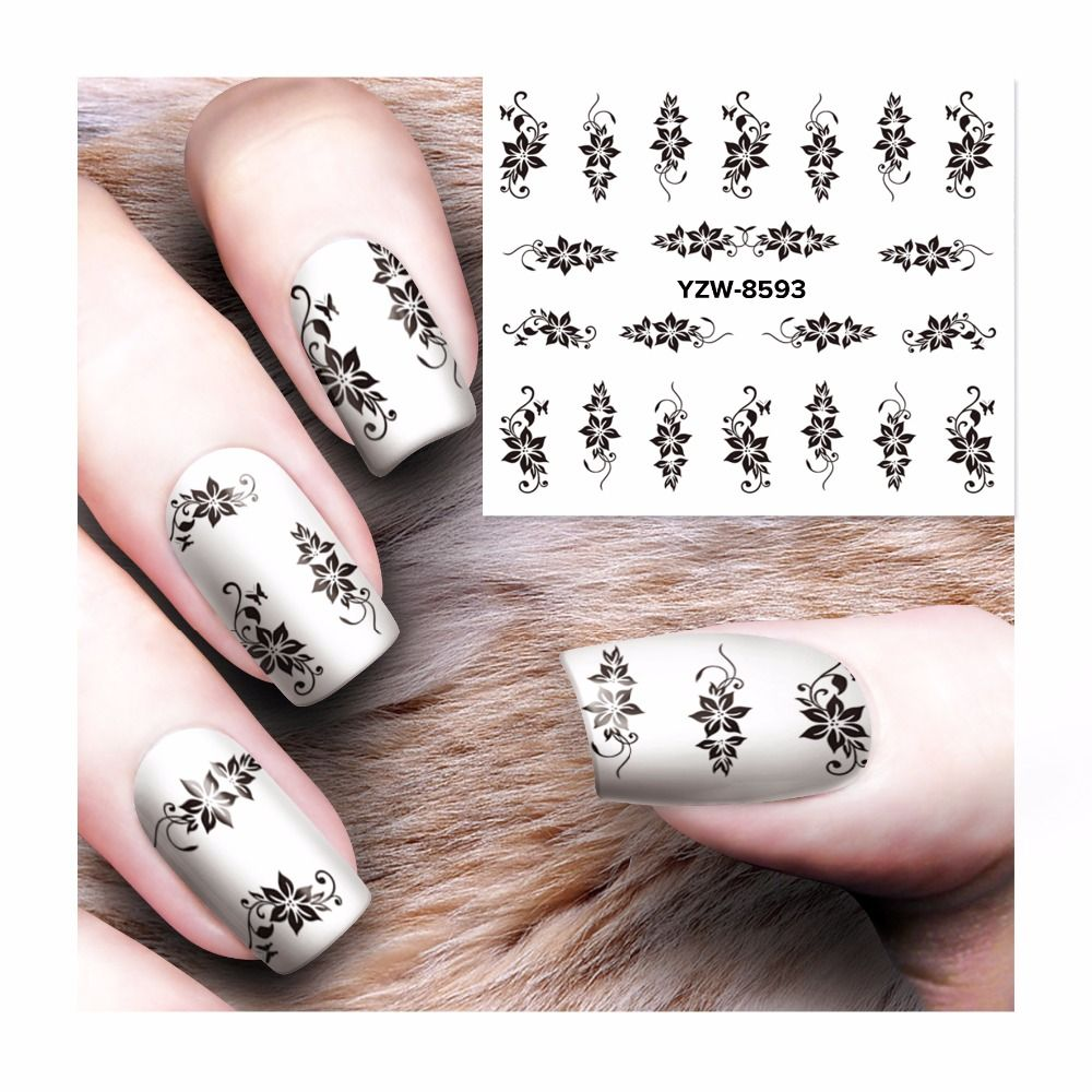 Lcj Hot Designs Water Decals Mixed Flower Nail Stickers French Tips Art Decorations For Nails
