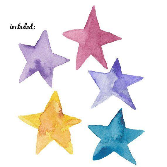 Watercolor Stars Clip Art Clipart Water Color Wash Star
