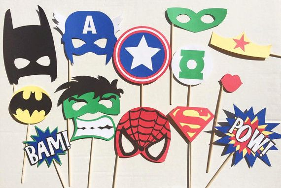 Super Hero Birthday Photo Booth Props; The Justice League; Batman Birthday Party; Superman Photobooth Props; Marvel