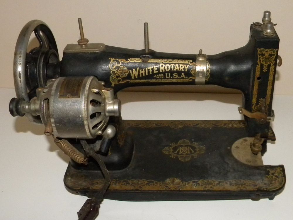 Antique White Rotary 40 Sewing Machine With Working Electric Motor New Antique White Rotary Sewing Machine