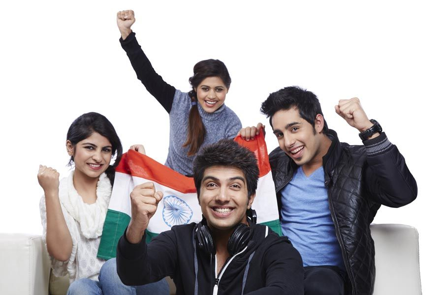 Friends cheering while watching cricket on TV - http://goo.gl/9uNkAL