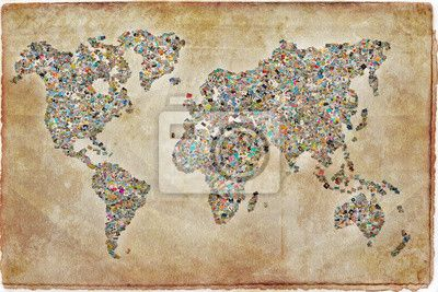 Sticker Carte du monde photos, texture vintage • Pixers®   Nous