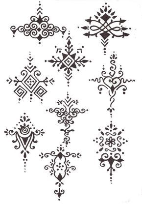 Bonitos diseos de tatuajes de henna Letritas Pinterest
