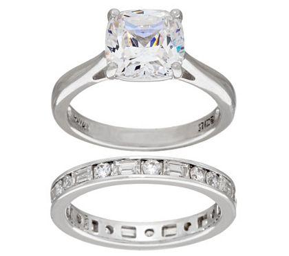 Diamonique 100 Facet 2 Pc Bridal Ring Set Platinum Clad Qvc Com Bridal Ring Set Bridal Rings Band Engagement Ring