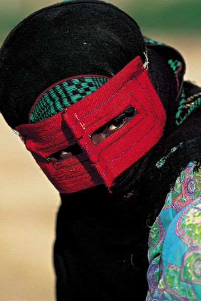 """Bandari burqa  - Iranian peoples of the southern coast line in Hormozagan province whom are known as """"Bandari"""" (port people)."""
