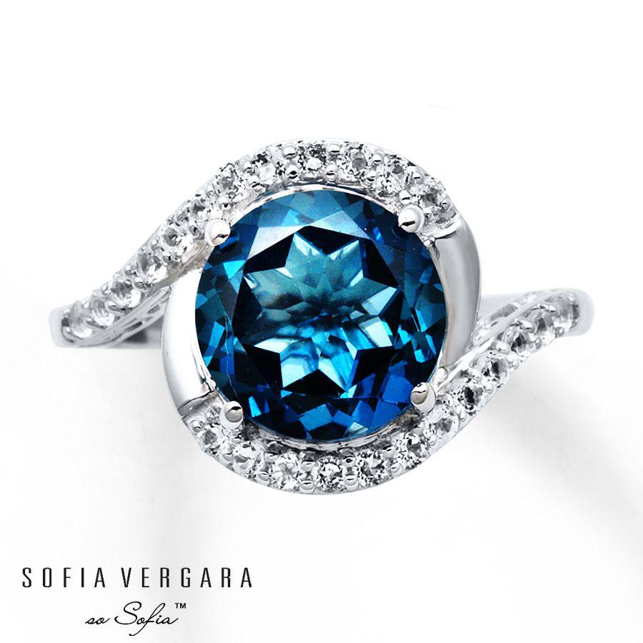Sofia Vergara Ring BlueWhite Topaz Sterling Silver On