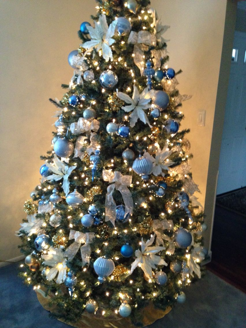 Elegant Christmas Tree Blue And Silver Beauty Blue Christmas Blue Christmas Tree Decorations Blue Christmas Decor