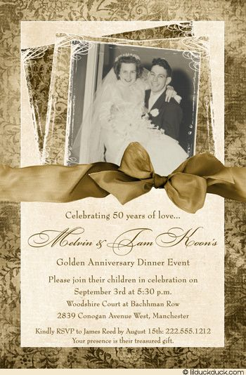 Damask 50th Anniversary Invitation Elegance Gold Photo Empire