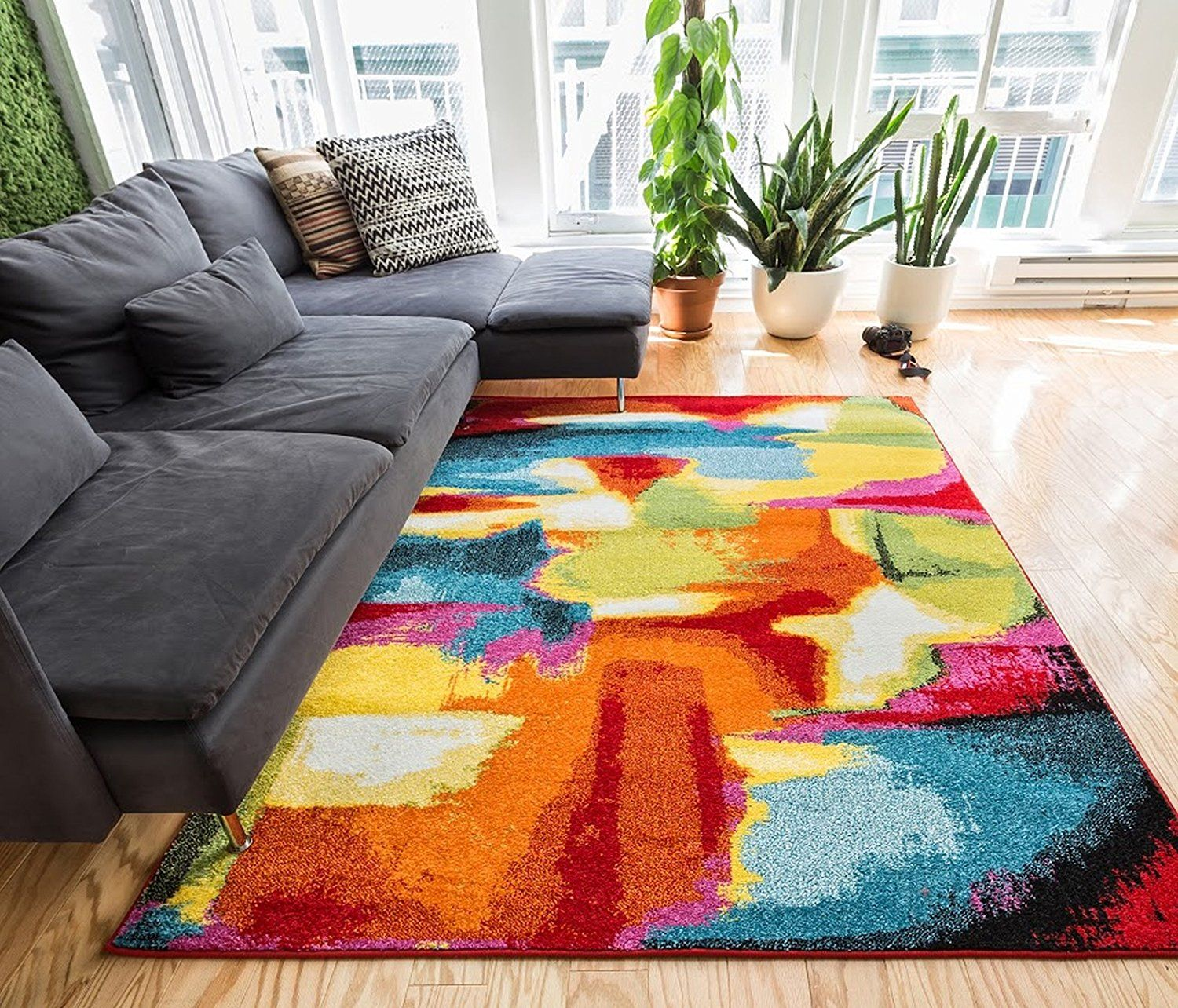 Bubble Bright Multi Circles Yellow Blue Red Abstract Geometric Lines Area Rug 5 X 7 3 Easy Clean Stain Fade Resistant Shed Free Modern