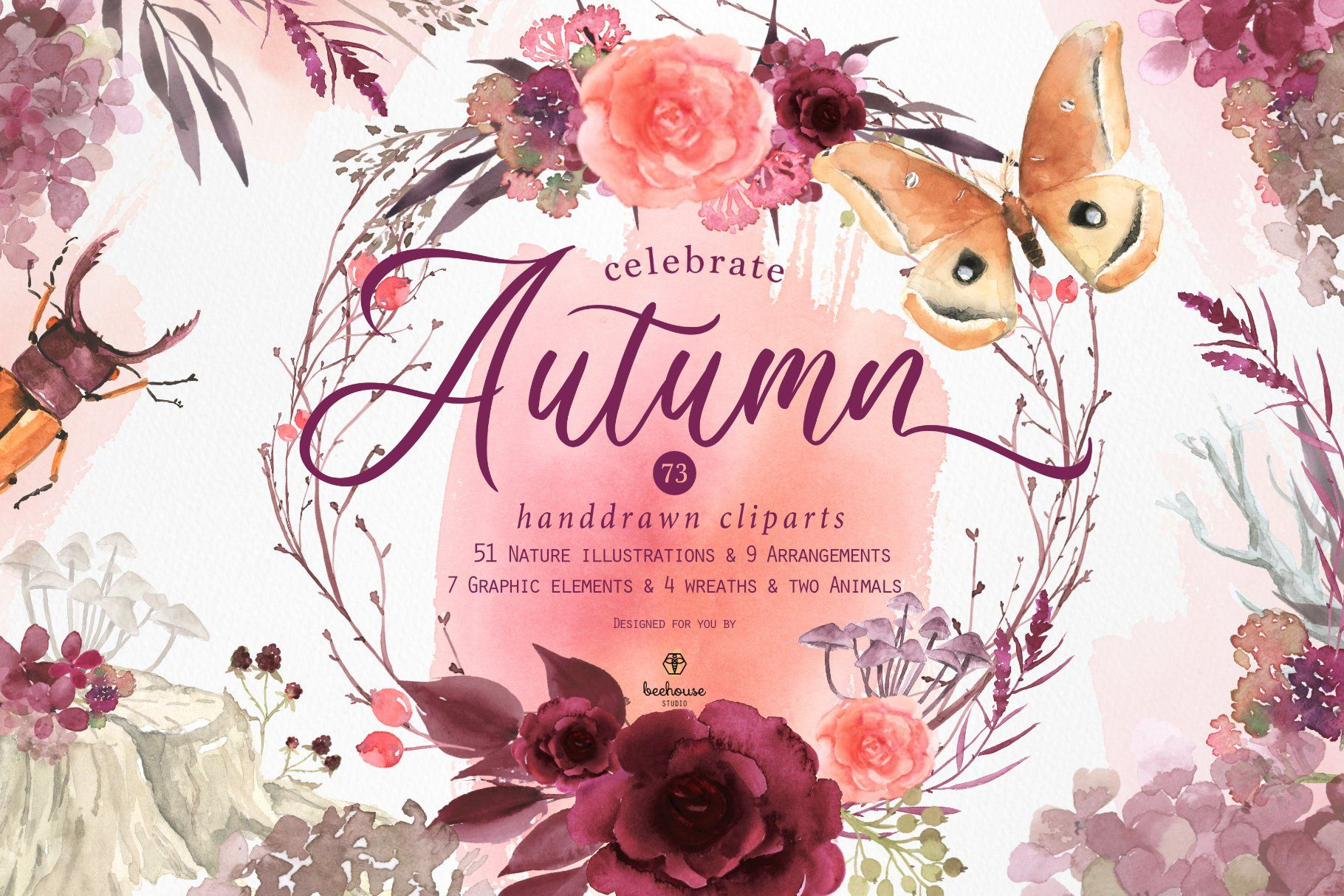 Celebrate Autumn Watercolor Clipart Fall Watercolor Watercolor
