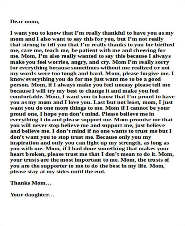 sample mom thank you letter free example format download mother - free sample thank you letter