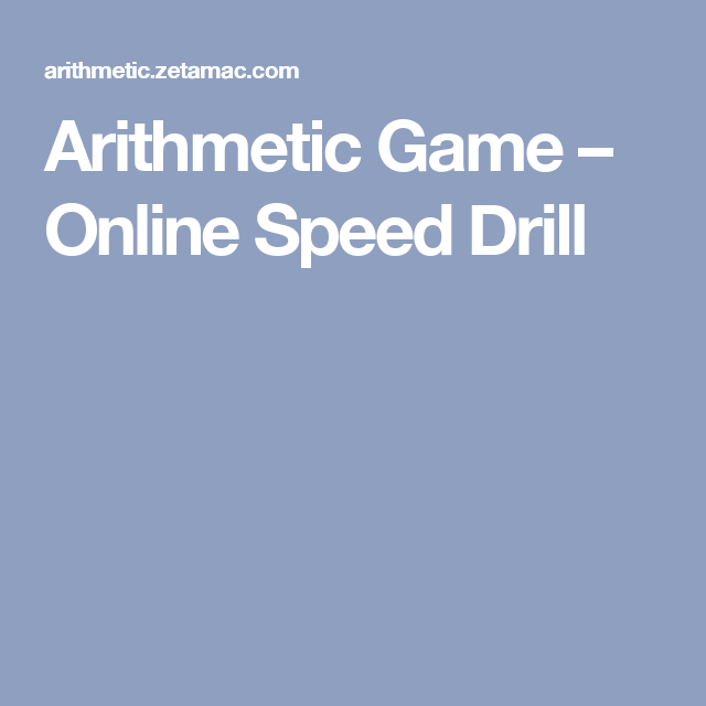Arithmetic Game – Online Speed Drill | Other | Pinterest ...