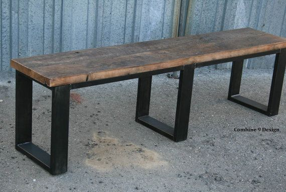 Reclaimed wood bench, Industrial Bench Seat. Steel Bench. Unique Rustic Dining table seating. Modern Farmhouse.bench