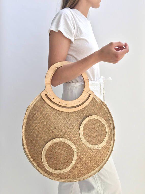 7ce727fb90c1 ... handbag purchase. Vintage Round Circle Woven Raffia Straw Basket Bag  Large
