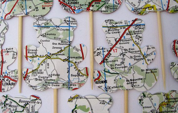 10 teddy bears cake toppers road map vintage Party picks