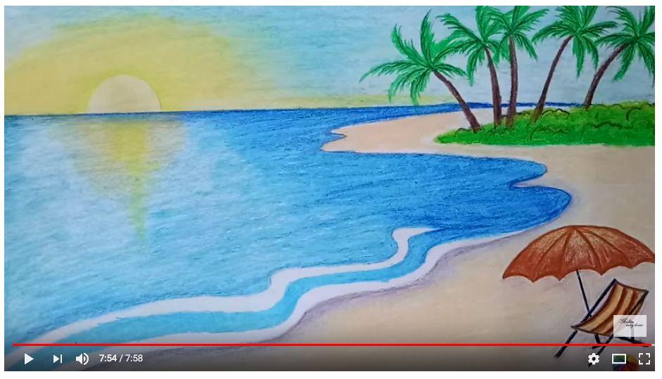 Beach Scene Art Project Beach Drawing Landscape Drawing Easy Summer Drawings