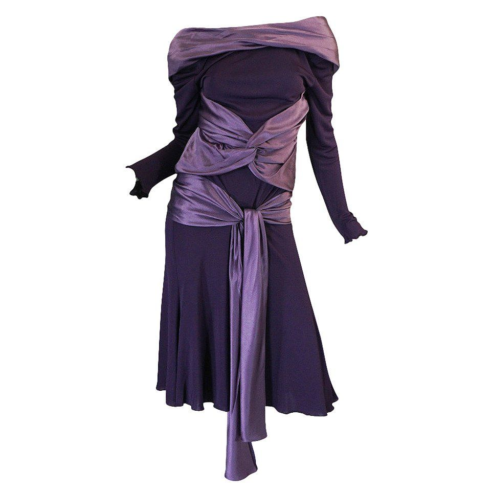 2dc511b74511 Alexander McQueen - FW2004 | Dark purple long sleeved dress with purple  silk panels ($1,200)