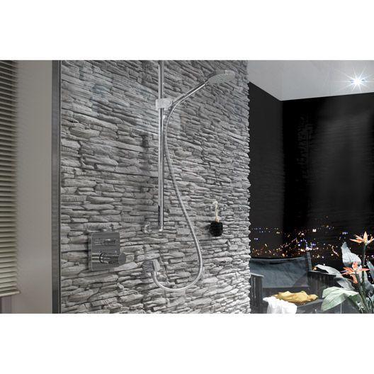 Plaquette de parement Linari en béton allégé, anthracite cheminée